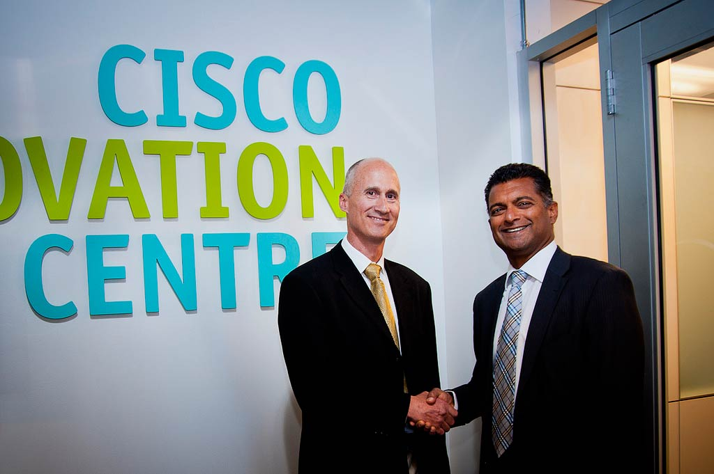Geoff Cape and Nitin Kawale, President of Cisco Canada, officially open the Cisco Innovation Centre at EBW. Photo: Robin Sharp Photography, courtesy Cisco Canada.