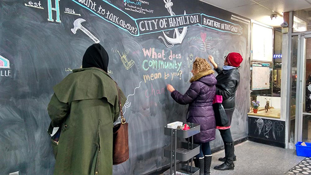 Hamiltonians take part in a community activity at the Hamilton Storefront.
