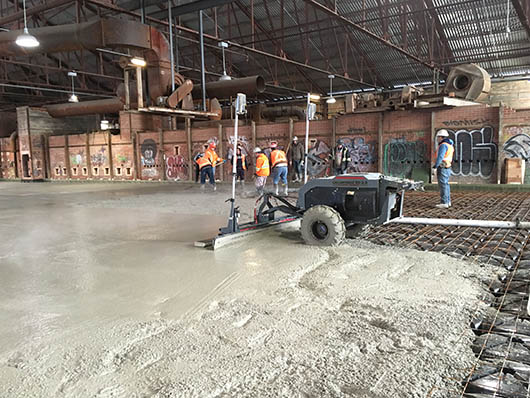 Building 16 special concrete being poured.