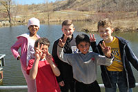 School kids posing by the Evergreen Brick Works Quarry.