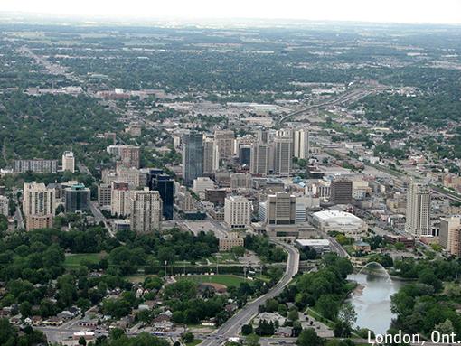 An aeriel photograph of London, Ontario.
