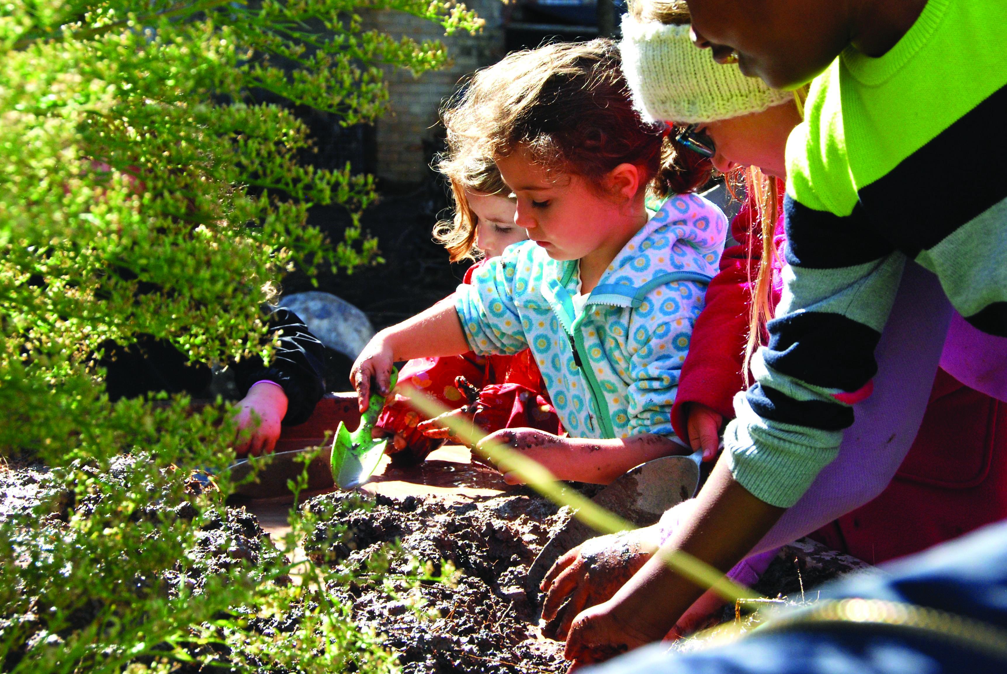 Children work with their hands in the garden.