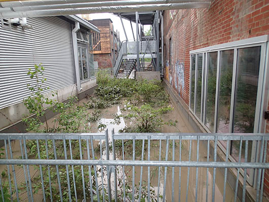 Flooding at Evergreen Brick Works in 2013.