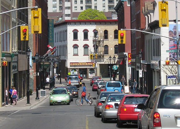 A view of a downtown Kitchener street.