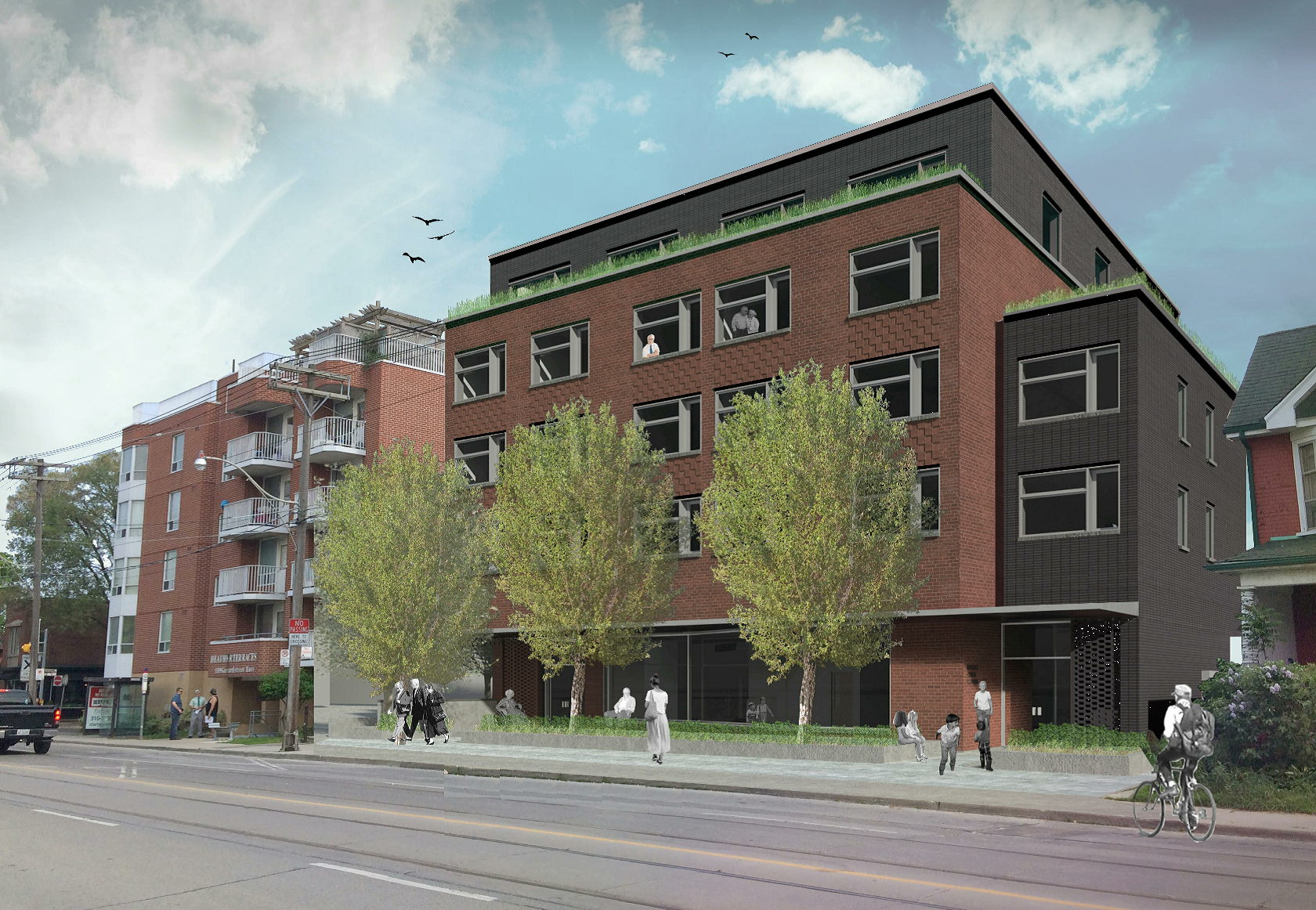 Rendering of an affordable rental building being developed in partnership between New Commons Development and a local community services organization in Toronto.