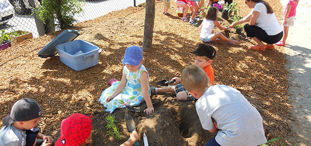 Children planting shrubs in a garden.