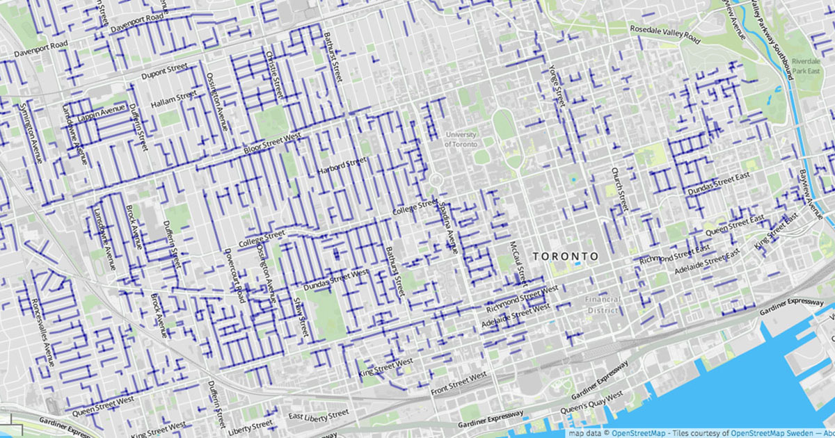 A map of Toronto's laneways.