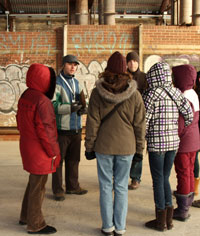 A tour group in the Kilns at Evergreen Brick Works.