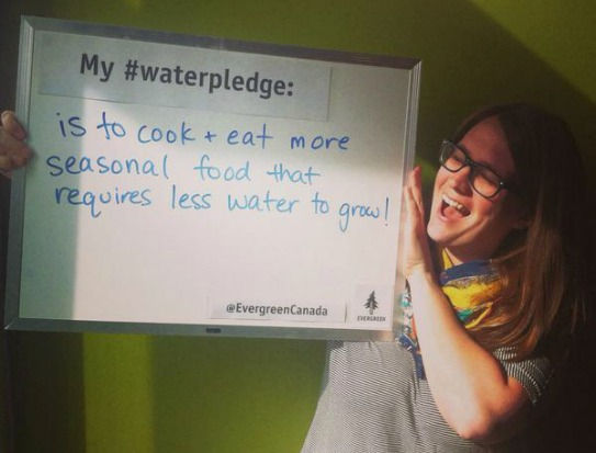 My #WaterPledge is to cook and eat more more seasonal food that requires less water to grow -Claire Bodkin