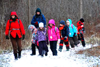 Kids exploring nature in the winter. Photo: Mike Derblich