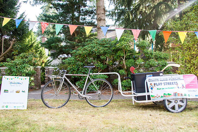 A mobile place making bike was set up to help make a safer street for the neighbourhood.