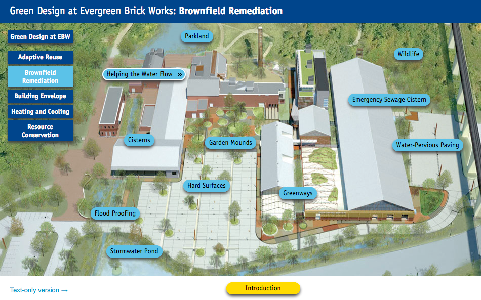 Screen shot of Brownfield Remediation features