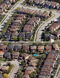 An aerial view of a suburban residential neighbourhood.