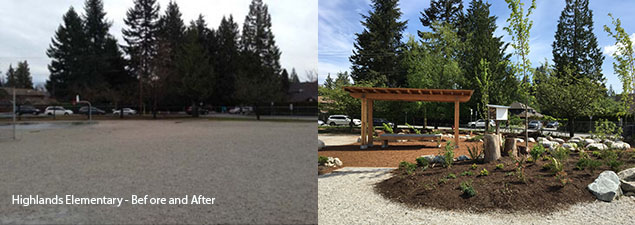 Before and after photos show the transformation of the outdoor space at Highlands Elementary in B.C.