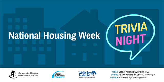 Trivia night graphic for National Housing Week