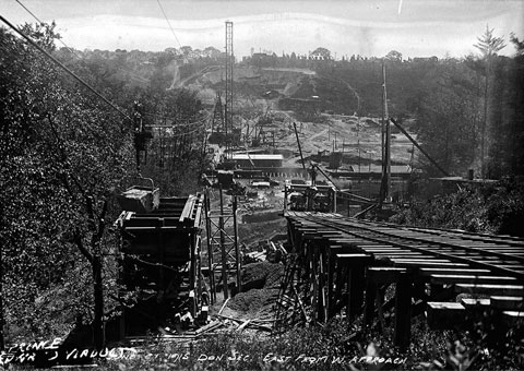 Bloor Viaduct under construction, 1915. City of Toronto Archives, Fonds 1231, Item 38