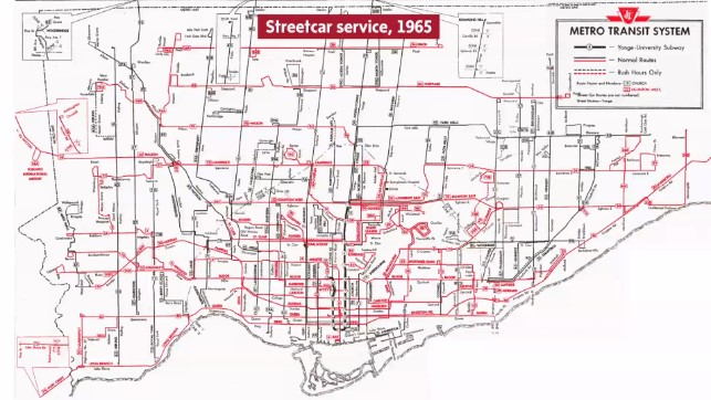 A TTC streetcar service map from 1965.