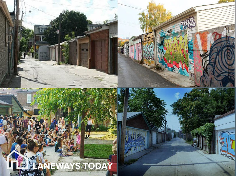 Photos of laneways how they exist today in Toronto