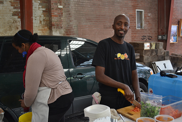 Bashir Munye makes his dumplings at Evergreen Brick Works.