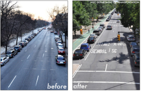 Before and after the Complete Streets policy is in place.