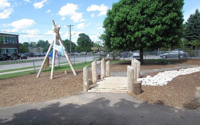 Rockway school's reimagined school grounds included natural features.