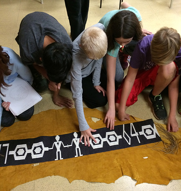 Students learn about the Wampum Belt in their classroom