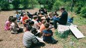 Students make use of their outdoor classroom.