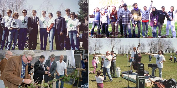 Evergreen Past and Present. Photos Clockwise: The first Evergreen planting event at Ashbridge's Bay in 1991; Credit Valley Conservation event with Evergreen; Barenaked Ladies perform at an Evergreen event in 1991; George Dark, Geoff Cape et. al. cut the vine ribbon on EBW 2010. Photos: Evergreen, Tooba Shakeel, Evergreen, Jan Schwarz.