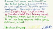Thank-you letter from student Larry to Evergreen.