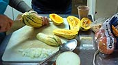 Getting the squash ready for a delicious salad. Photo: Helen Beynon.