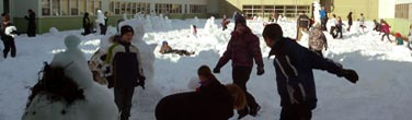 Students build a forest of snowmen at Holyrood School in Edmonton. Photo: Suzanne Préfontaine.