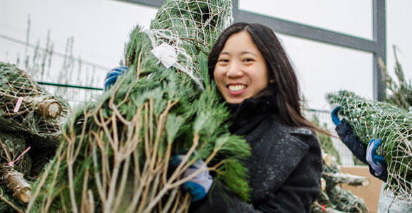 A woman carrying a Christmas tree at Evergreen Garden Market.